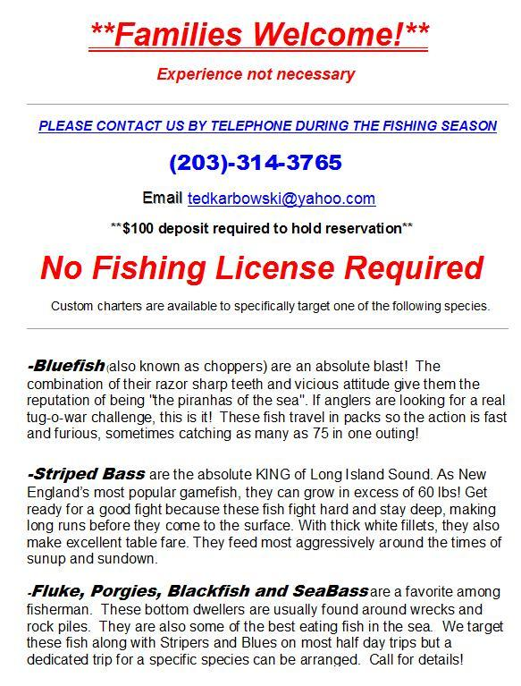 Ct charter fishing rates sportfishing trip rates ct for Ct fishing license